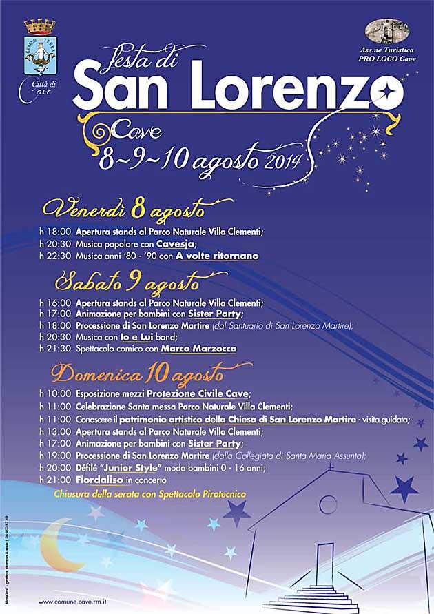 Cave. Programma Festeggiamenti di San Lorenzo 2014