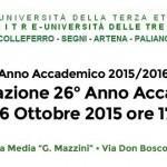 Unitre di Colleferro, Segni, Artena, Paliano. Venerdì 16 Ottobre s'inaugura il 26° Anno Accademico